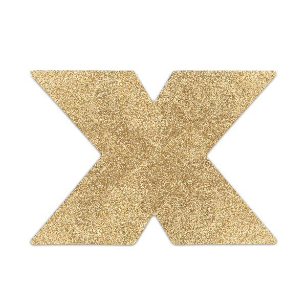 Bijoux Flash Cross Glitter Pasties-Gold