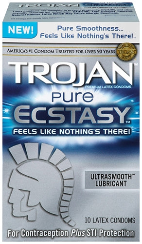 Trojan Pure Ecstasy Lubricated Condoms - 10 Pack TJ99856