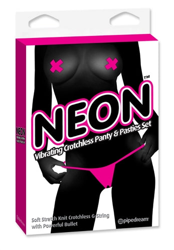 Neon Vibrating Crotchless Panty and Pasties Set - Pink PD1431-11