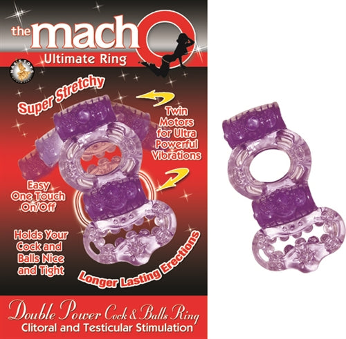 The Macho Collection Double Power Cock and Balls Ring Purple NW2257-2