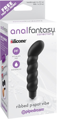 Anal Fantasy Collection Ribbed P-Spot Vibe - Black PD4631-23