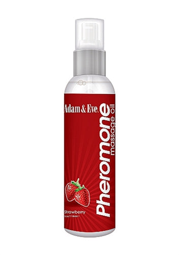 Adam and Eve Strawberry Pheromone Massage Oil - 4 Oz. AE-LQ-6956-2