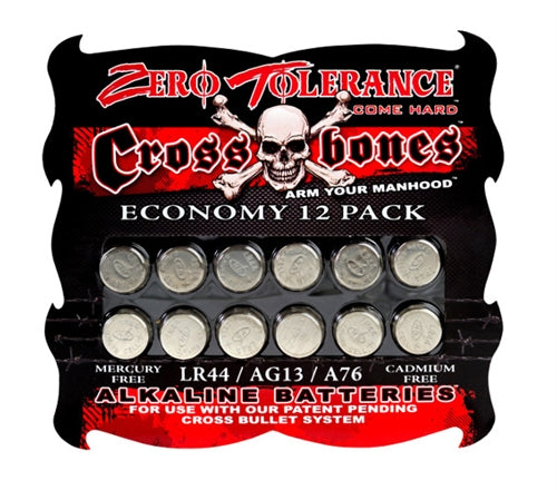 Crossbones LR44 Alkaline Batteries - Economy 12 Pack ZE-BT-3702-2
