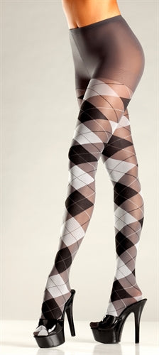 Grey and Black Argyle Tights BW-687GY