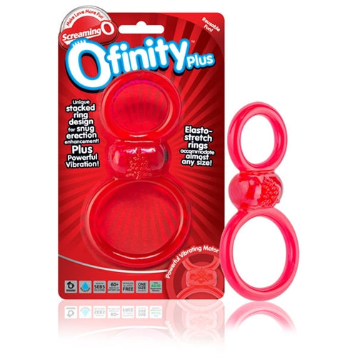 Ofinity Plus - Dual Vibrating Ring - Red OFYP-R-110E