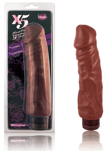 X5 Hard on Vibrating 9in Dildo Brown BL-52206