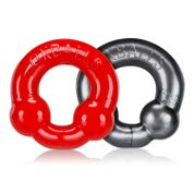 Ultraballs 2-Piece Cockring Set - Steel & Red OX-3010-STR