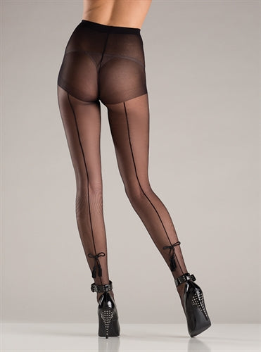 Spandex Sheer Back Seam Pantyhose With Tassel Bow Design - Black - One Size BW-751B