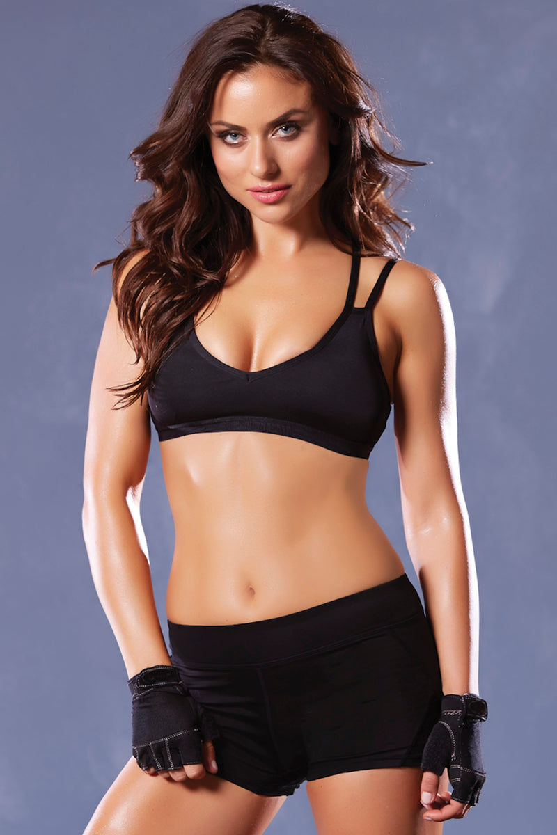 Strike Microfiber Strappy Sports Bra - Black - Small STM-30125BLKS