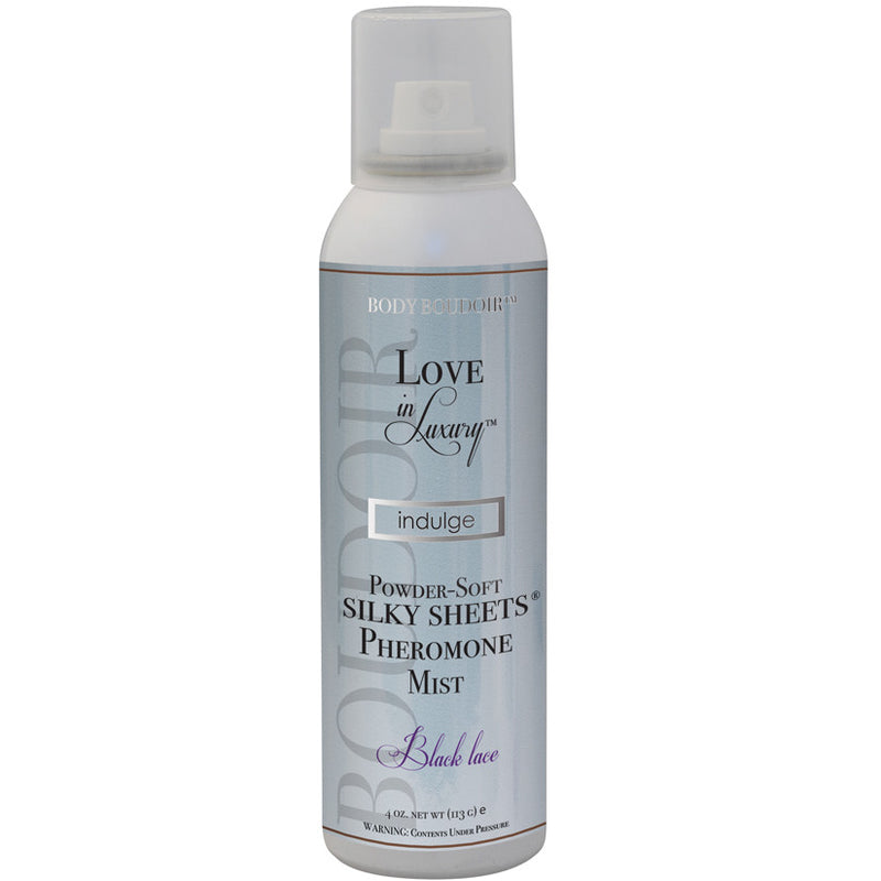 Love In Luxury Silky Sheets Mist-Black Lace 4oz