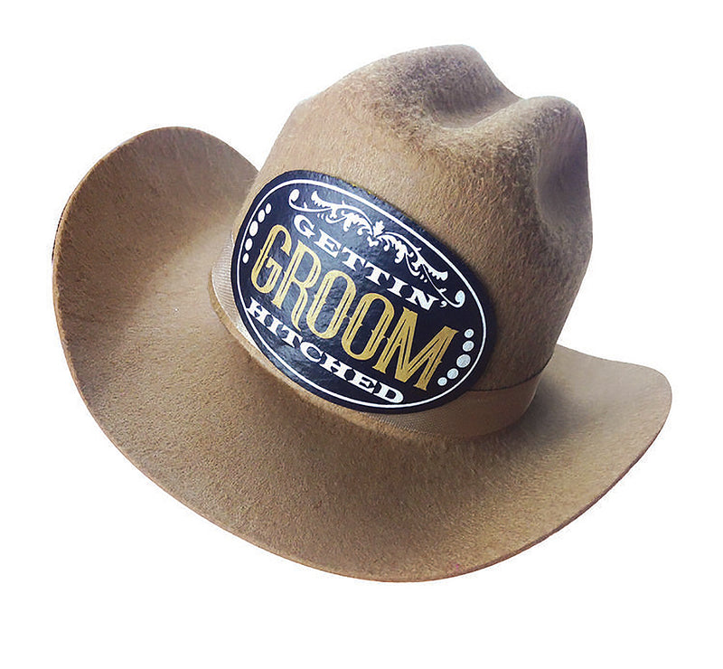 Gettin' Hitched Clip-on Cowboy Groom Party Hat LG-NVC058