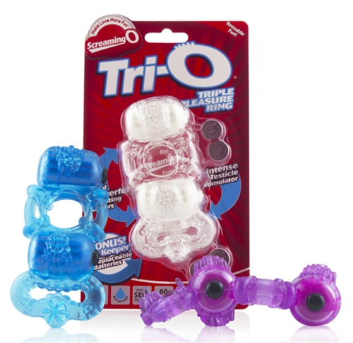 The Tri-O Triple Pleasure Ring - Each - Assorted Colors TRIO110-E