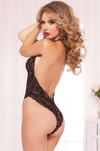 Floral Lace Teddy - Black - One Size