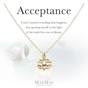 14k Gold filled chain necklace with gold pewter lotus charm on an illustrated positive affirmation card - MaeMae Jewelry