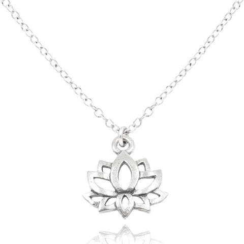 Close up of a silver pewter lotus charm on a Sterling Silver necklace on white background - MaeMae Jewelry