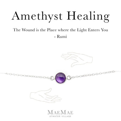 Genuine Amethyst Stone Silver Bracelet on an illustrated card with Rumi Quote - MaeMae Jewelry