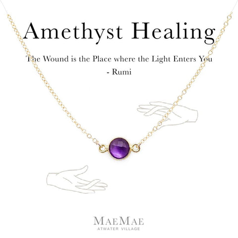 Genuine Amethyst Stone Gold Necklace on an illustrated card with Rumi Quote - MaeMae Jewelry