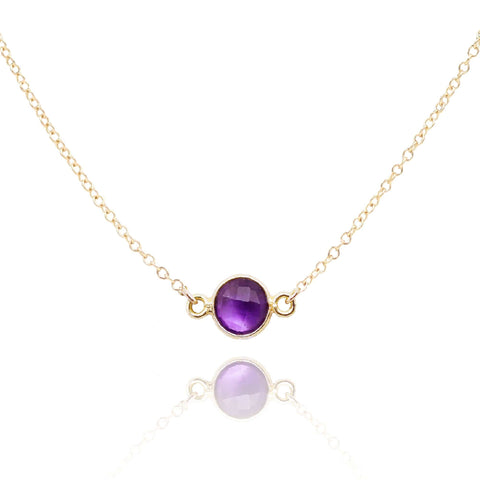 Close up of a genuine amethyst 14k gold filled necklace - MaeMae Jewelry