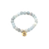 Stretchy Aquamarine Stone Bracelet with Gold Pewter Om Charm