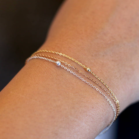 """No More"" Dainty Mixed Metals Chain Bracelet - Collaboration with Ashley Alisha (Limited Edition)"