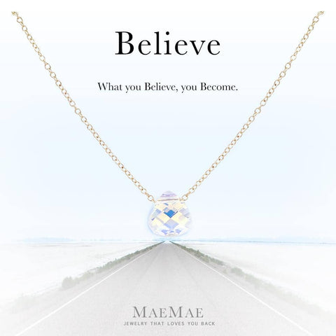 """Believe"" Crystal Pendant Necklace Necklace MaeMae Jewelry AB (Aurora Borealis) 14k Gold Filled 16"" - 18"" Standard"