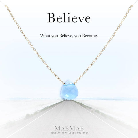 """Believe"" Crystal Pendant Necklace Necklace MaeMae Jewelry Aquamarine 14k Gold Filled 16"" - 18"" Standard"