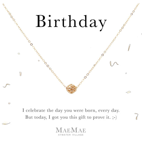 14k gold filled hollow filigree ball charm on 14k gold filled cable chain necklace on affirmation card - MaeMae Jewelry