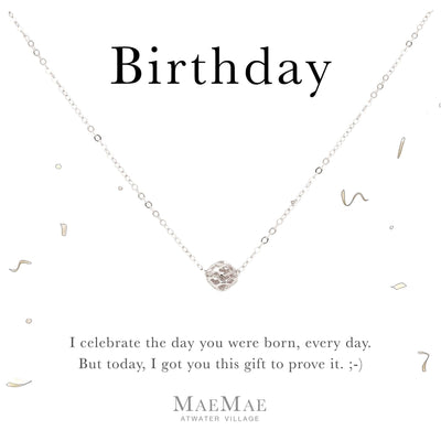 Sterling Silver hollow filigree ball charm on sterling silver cable chain necklace on affirmation card - MaeMae Jewelry