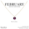 February Birthstone Necklace | 14k Gold Filled Chain Necklace with Amethyst Swarovski Crystal Pendant