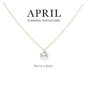 April Birthstone Necklace | 14k Gold Filled Chain Necklace with Clear Swarovski Crystal Pendant