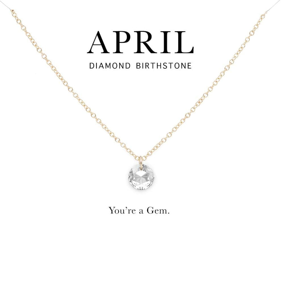 f2873029cd91ff April Birthstone Necklace   14k Gold Filled Chain Necklace with Clear  Swarovski Crystal Pendant