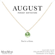August Birthstone Necklace | 14k Gold Filled Chain Necklace with Peridot Swarovski Crystal Pendant
