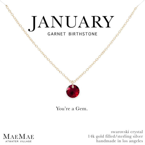 January Birthstone Necklace | 14k Gold Filled Chain Necklace with Garnet Swarovski Crystal Pendant