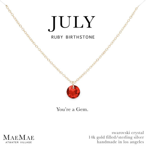 July Birthstone Necklace | 14k Gold Filled Chain Necklace with Ruby Swarovski Crystal Pendant