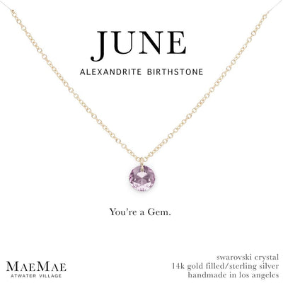 June Birthstone Necklace | 14k Gold Filled Chain Necklace with Alexandrite Swarovski Crystal Pendant