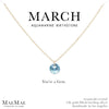 March Birthstone Necklace | 14k Gold Filled Chain Necklace with Aquamarine Swarovski Crystal Pendant