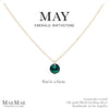 May Birthstone Necklace | 14k Gold Filled Chain Necklace with Emerald Swarovski Crystal Pendant