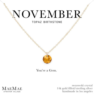 November Birthstone Necklace | 14k Gold Filled Chain Necklace with Topaz Swarovski Crystal Pendant