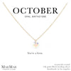 October Birthstone Necklace | 14k Gold Filled Chain Necklace with Opal Swarovski Crystal Pendant