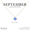 September Birthstone Necklace | 14k Gold Filled Chain Necklace with Sapphire Swarovski Crystal Pendant
