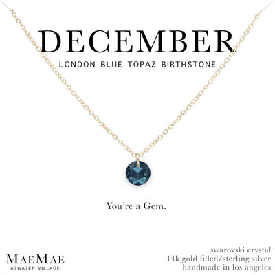 December Birthstone Necklace | 14k Gold Filled Chain Necklace with Blue Topaz Swarovski Crystal Pendant