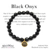 Black Onyx Gemstone stretch bracelet on respective card