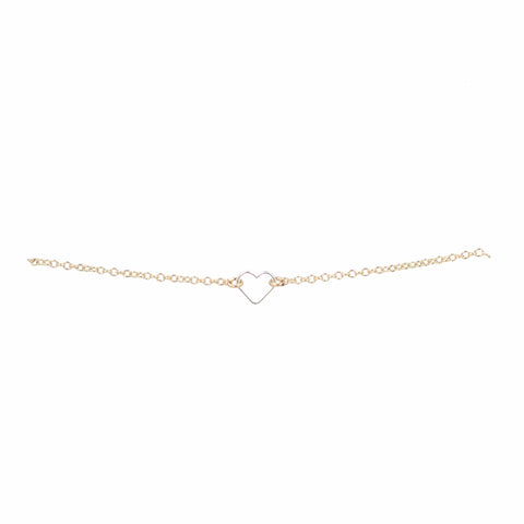 "Bridal ""Better Together"" Silver Heart + Gold Chain Bracelet"
