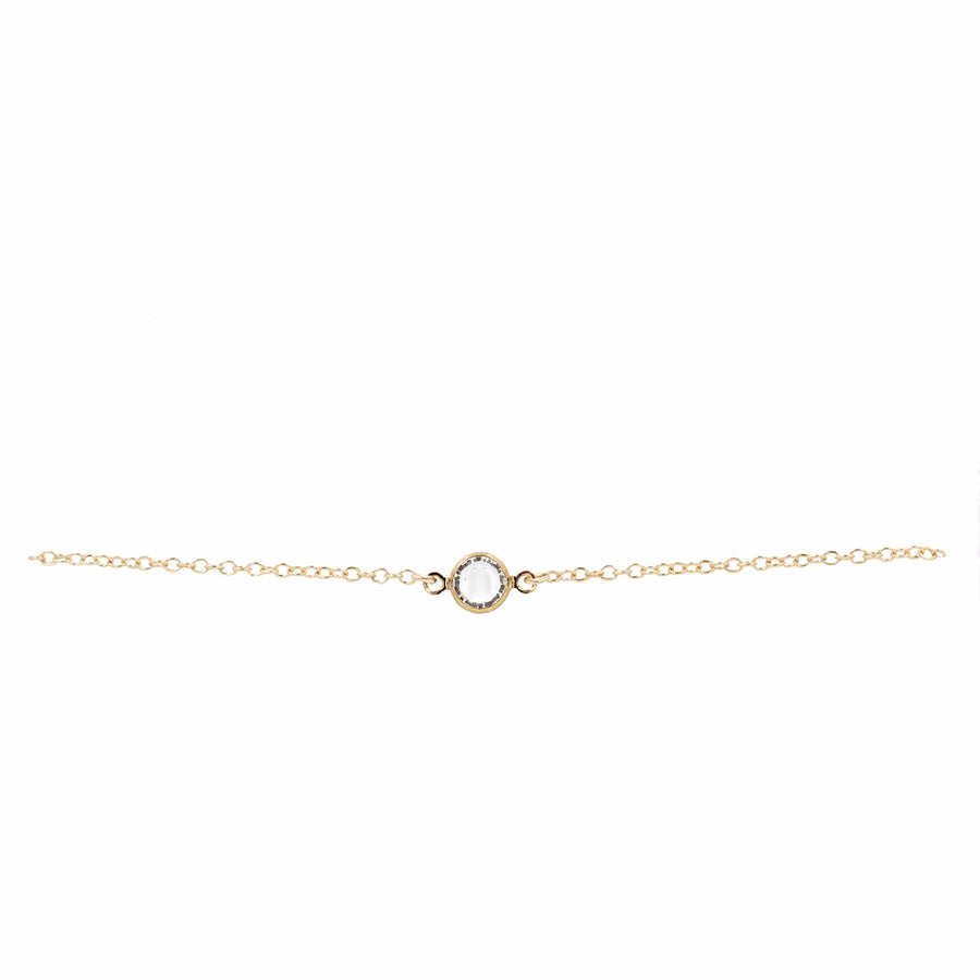 Model Lifestyle Wearing Swarovski crystal on 14k Gold Filled chain bracelet - MaeMae Jewelry