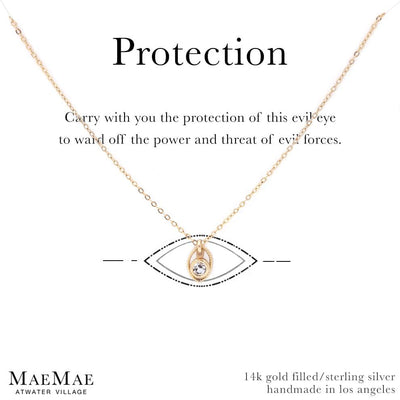 14K Gold Filled Dainty clear protection evil eye necklace on affirmation card- MaeMae Jewelry