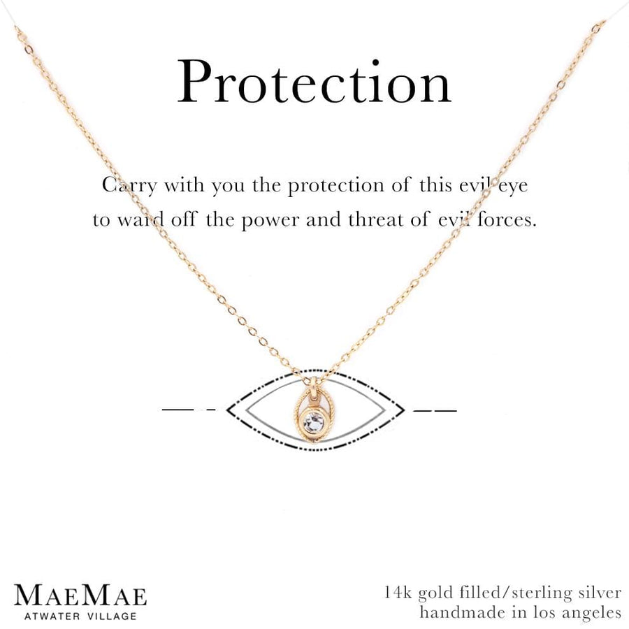 14K Gold Filled Dainty seafoam green protection evil eye necklace on affirmation card- MaeMae Jewelry
