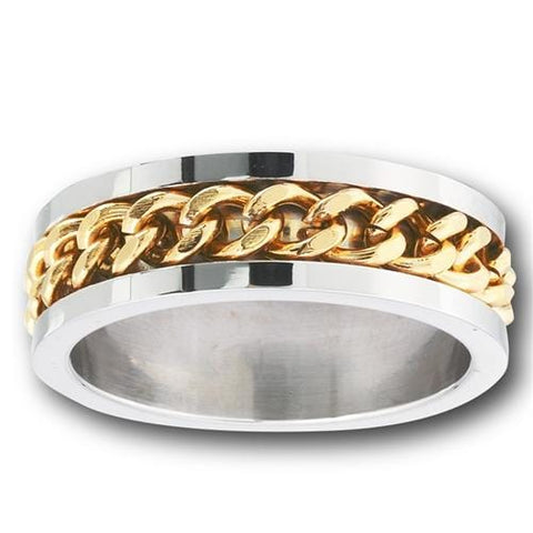 Stainless Steel Ring with Gold Chain