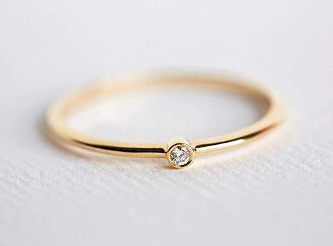 CZ Solitaire Stacking Ring