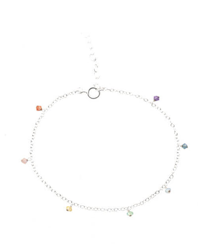 7 rainbow crystal drop sterling silver anklet on white background - MaeMae Jewelry