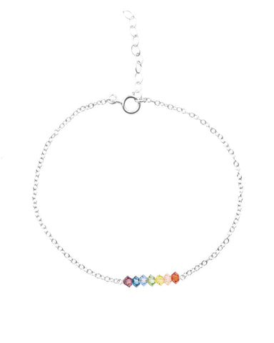 Detail view of The 7 Chakras Bracelet on a Sterling Silver Chain with 7 Swarovski Crystals created by MaeMae Jewelry